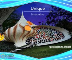 "The Nautilus house located near Mexico City is a unique shell shaped house designed by Mexican architect Javier Senosiain of Arquitectura Organica. The house design is very innovative, unusual and audacious. Javier Senosiain decided to bring the aquatic life into architecture. Inspired by the work of Gaudí and Frank Lloyd Wright, Javier Senosiain has brought to Mexico City this sparkling example of what he calls ""Bio-Architecture"". Learn unique way to build at worldschoolofdesign.in… Crafts To Make, Arts And Crafts, Lloyd Wright, Nautilus, Gaudi, Mexico City, Innovation, Shell, Mexican"