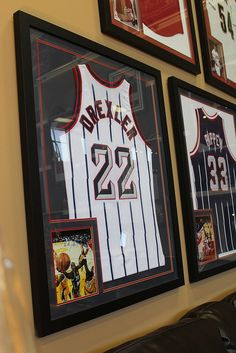 A simple way to proudly display your favorite sports memorabilia, such as these vintage jersey! | Houston TX | Gallery Furniture |
