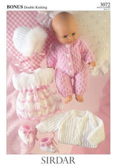 Cute sirdar knitting patterns for dolls clothes sirdar dolls clothes knitting pattern: all in one, dress, bootees, jacket, YQDDZCG - Crochet and Knit Sirdar Knitting Patterns, Baby Cardigan Knitting Pattern Free, Knitted Doll Patterns, Knitted Dolls, Knitting Dolls Clothes, Crochet Doll Clothes, Doll Clothes Patterns, Crochet Dresses, Bitty Baby Clothes