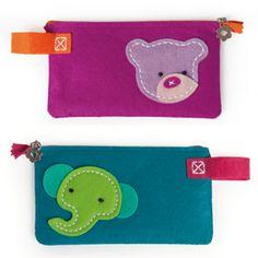 Compleet en simpel handwerkpakket om samen met je kind te maken: vilten etui met beer of olifant.