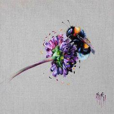 Honey Love (Limited Edition) by Georgina McMaster - Art Prints Gallery painting oil Honey Love (Limited Edition) by Georgina McMaster Aquarell Tattoos, Kunst Tattoos, Body Art Tattoos, Tatoos, Tattoo Art, Bumble Bee Tattoo, Honey Bee Tattoo, I Love Bees, Bee Art