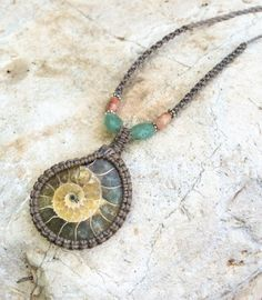 93da03dc3e11 Amazon.com  Ammonite macrame necklace with natural stones  Handmade Cabuya