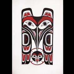 Raven and Moon - Clarence Mills Haida Kunst, Arte Haida, Haida Art, Le Totem, Tiki Totem, American Indian Art, Native American Art, Totems, Tatouage Haida