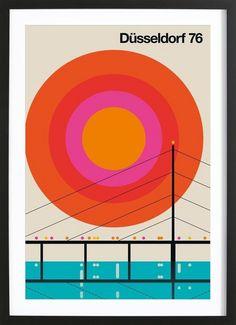 Juniqe® Posters Cities Retro - Design Düsseldorf (Format: Portrait) - Pictures, Art prints & Prints by independent artists Designed by Bo Lundberg Gig Poster, Poster Print, Retro Poster, Vintage Posters, Vintage Graphic Design, Graphic Design Posters, Graphic Design Inspiration, Graphic Art, Geometric Graphic