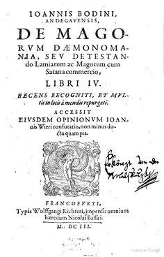 De Magorum Daemonomania: l. IV. - Jean Bodin - 1603