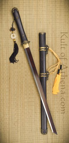 Iron Tiger Forge Tang Dynasty Dao with Red and Black folded steel blade $399.95