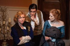 Liv Ullmann, Colin Farrell and Jessica Chastain on-set of Miss Julie (2014)