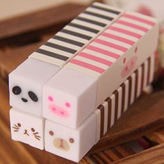 Trytry 10 Pcs Cute Cartoon Animal Pencil Erasers Pack Prizes Gifts for Kids Stationary School, Cute Stationary, School Stationery, Stationery Items, Kawaii Stationery, Kawaii Panda, Minnie Mouse Games, Eraser Collection, Cool School Supplies