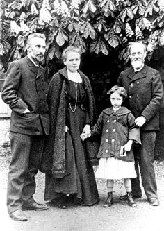 From left to right: Pierre Curie, Marie Curie, Irene Curie, and Eugéne Curie (Pierre's father)