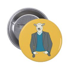 Cool Sheep Head Man in a Suit 6 Cm Round Badge