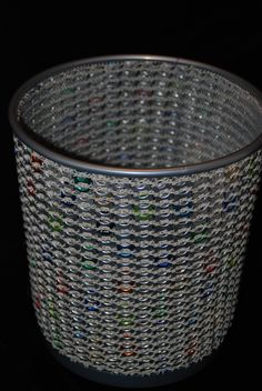Newest pieces, confetti trash can. Colored tabs with silver stitched onto a metal mesh can. Available now at Some Things Looming, Reading PA.