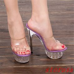 Fashion Women Sandals Platform Transparency 14Cm High Stiletto Heelnightclub Sz