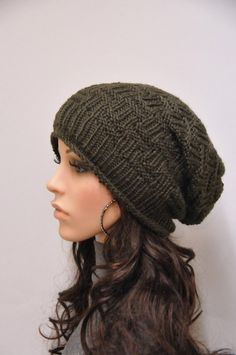 9275456f61a34 Hand knit hat woman man unisex Olive chunky slouchy wool hat-ready to ship