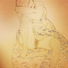 A drawing not by Schiele but Klimt! Egon learnt the most from the artist he adored, Gustav Klimt #gustavklimt #klimt #egonschiele #schiele #womeninart #vienna #art #love #women #erotic