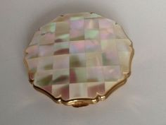"Vintage ""Stratton"" Mother of Pearl and Gold Tone Scalloped Powder Compact"