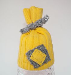 Upcycled Newborn Baby Hat - Yellow & Grey - Photo Prop. $23.00, via Etsy.