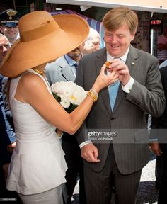 King Willem-Alexander of The Netherlands and Queen Maxima of The Netherlands visit the Mercato del Cap Market during the second day of a royal state visit to Italy on June 21, 2017 in Palermo, Italy. (Photo by Patrick van Katwijk/Getty Images)