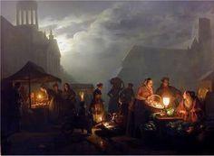 Petrus van Schendel, Marktplein bij avond, Rotterdam, 1853.