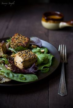 Sesame Crusted Tofu Salad with Spicy Peanut Dressing - Vegan Recipe ~ Savory Simple