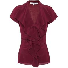 Carolina Herrera Silk Blouse (62.155 RUB) ❤ liked on Polyvore featuring tops, blouses, red, red blouse, purple top, red top, purple blouse and purple silk blouse