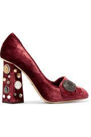 df989a866e9 Embellished velvet pumps Velvet Shoes