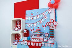 Vintage Blue Elephant Birthday Party Package Personalized FULL Collection Set - PRINTABLE DIY - BX30x. $35.00, via Etsy.