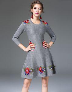 #AdoreWe #VIPme A-Line Dresses - mojaser Grey 3/4 Sleeve Embroidery Knitted A Line Dress - AdoreWe.com