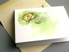 Dormouse  Animal Notecard Watercolor Print by LittleAlexander, $3.75