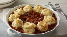 Double-up two favorites, with sloppy Joe flavor from prepared sauce jazzing up ground beef and instant mashed potatoes adding a crowning touch.