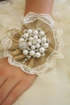 Burlap Wrist Corsage Rustic Wedding Wrist Corsage by AbbyPlace
