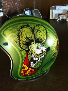 this is a project I had a few months ago for an art show in BC Biker Accessories, Helmet Paint, Lace Painting, Custom Helmets, Rat Fink, Garage Art, Paint Stripes, Helmet Design, Kustom Kulture