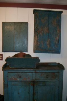 Blue,blue...I'm usually not a fan but I am drawn to olde blue furniture.