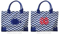 Monogrammed Insulated Cooler Bag- Navy Chevron Fish