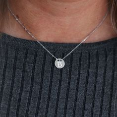 Ketting zilver met munt en letter, necklace