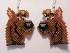 Hand Beaded Scooby Doo dog earrings by beadfairy1 on Etsy, $12.95
