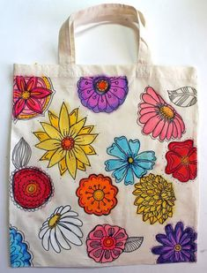 Gelato Flowers Canvas Tote Bag 2019 Gelato Flowers Canvas Tote Bag Faber-Castell Design Memory Craft The post Gelato Flowers Canvas Tote Bag 2019 appeared first on Bag Diy. Kids Tote Bag, Canvas Tote Bags, Painted Bags, Hand Painted, Fabric Paint Designs, Fabric Markers, Jute Bags, Custom Canvas, Fabric Bags