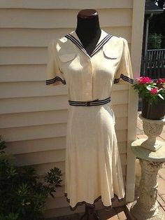 Charming-Vintage-1940s-Sailor-Dress-WWII-Perfect-Lindy-Hop-Swing-Dance-Dress