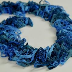 Blue Fluffy Ruffle Scarf - Fluffy ruffle scarf made of different blue yarns. Perfect for spring/summer season