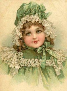 Girl in Green Digital Downloadable Printable Image by naturepoet, $4.00