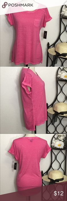 "Style & Co Pink Burnout Cuffed Sleeve T-Shirt Top Cute pink burnout top with cuffed short sleeves. Bust: 42""; Length in the back from the shoulder: L-27"". Measurements are approximate. Smoke free home. Thank you for shopping my closet 😊🌺 Style & Co Tops Tees - Short Sleeve"