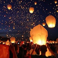 """25-pack of Wish Lanterns - $69.99  they burn for about 12 minutes and they rise up nearly a mile in the air.  The site says: """"After release and flight, the Wish Lantern will self-extinguish and float gently to the ground, where the rice paper will biodegrade, and the very thin wire at the bottom of the lantern will rust away in the rain.""""  how AMAZING would this"""