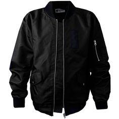 Black Bomber Jacket ($37) ❤ liked on Polyvore featuring outerwear, jackets, bomber style jacket, blouson jacket, flight jacket and bomber jacket