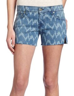 7 For All Mankind Women`s Carlie Short in Laser Ikat Denim $80.00