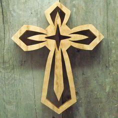 crosscut+saw+art | Hand Cut Oak Cross 2, Hand cut Scroll saw Art