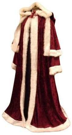 maroon Crushed Velvet Santa Claus Costume