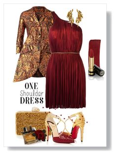 """""""one shoulder dress"""" by art-gives-me-life ❤ liked on Polyvore featuring Vika Gazinskaya, Maria Lucia Hohan, Wilbur & Gussie, Christian Louboutin, Chaumet, Burberry, Gucci, Fall, contestentry and OneShoulderDress"""