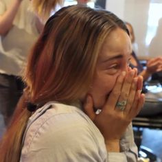 Shailene Woodley cries while getting her hair cut for the Fault in Our Stars.