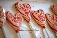 valentine suckers made from two candy canes and almond bark - directions given