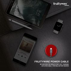 FRUITYWIRE Power Cable MFi-Certified The World's First 3-in-1 Charging, Data-Sync Cable & Portable Battery Booster. • EMERGENCY CHARGE • EXTRA TALK-TIME / INTERNET USAGE : Up to 4.5 Hours Talk-Time / 3 Hours Extra Internet Usage. • COMPACT DESIGN • BEST OTG CABLE • EXTRA DURABILITY • BETTER STRAIN-RELIEF • FLEXIBLE INSULATION • DOUBLE BRAIDED NYLON.