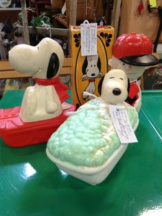 Snoopy and Charlie Brown Avon products--bubble bath & shampoo containers, hair brush $8 each in Booth 716